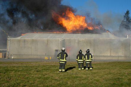 Drei Feuerwehrmänner beobachten die Schäden des Zeltbrands.